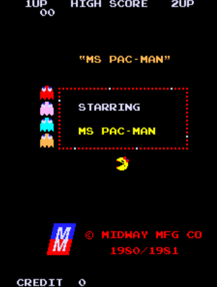 neon retro arcade ms pac man